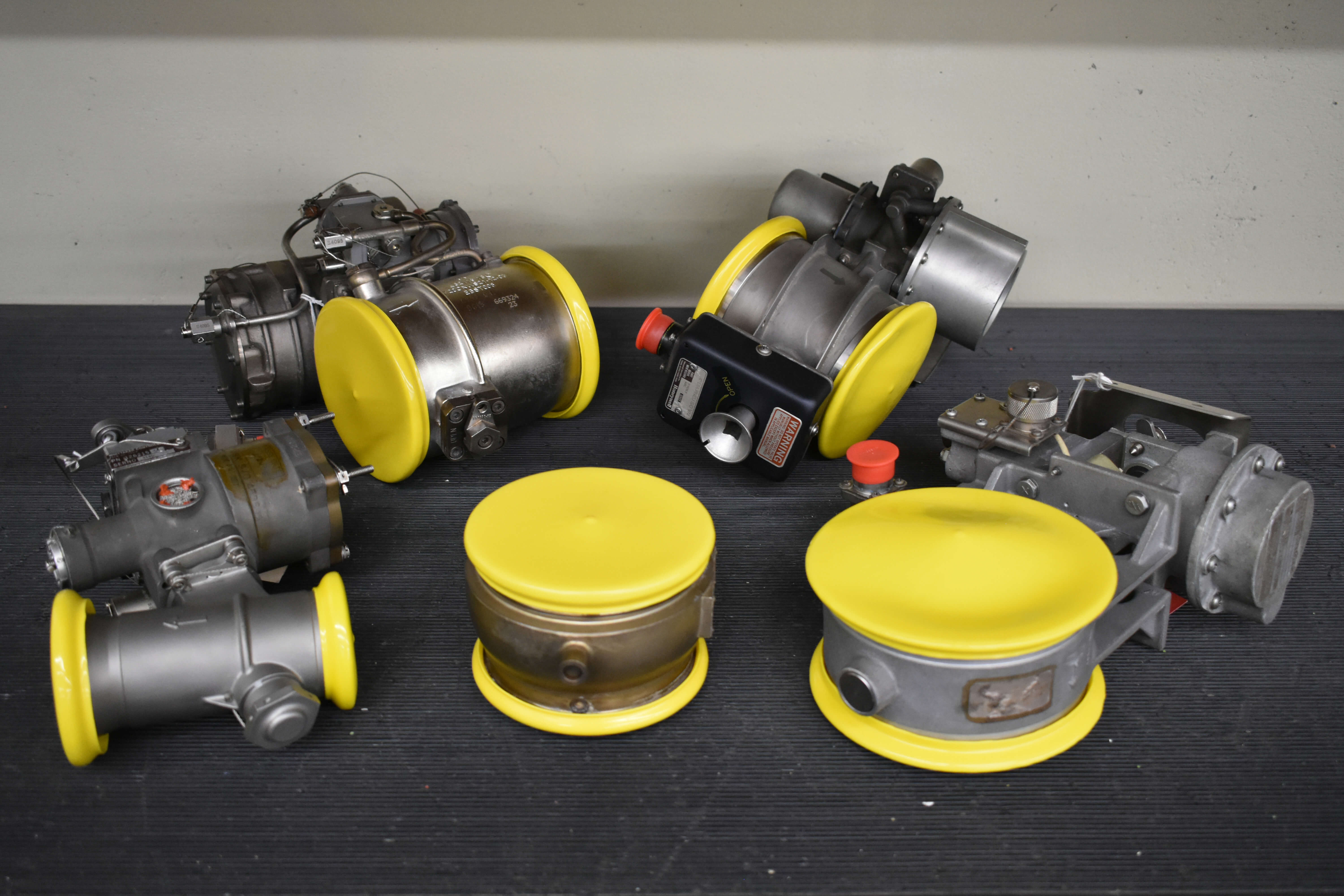 Various pneumatic valves ready for final processing and shipping.