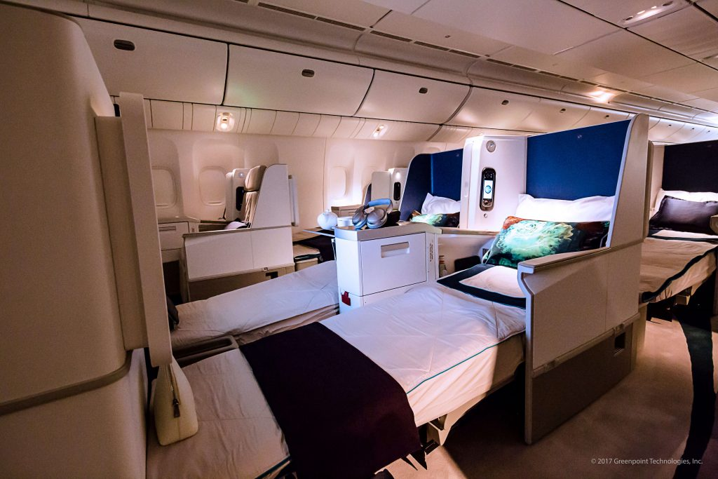 Lay-flat seating of recent VIP aircraft completion (photo courtesy of Greenpoint Technologies)