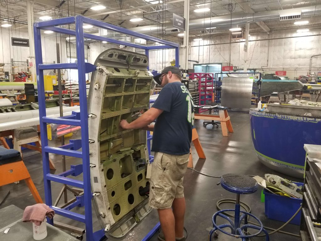 B737 door undergoing repair