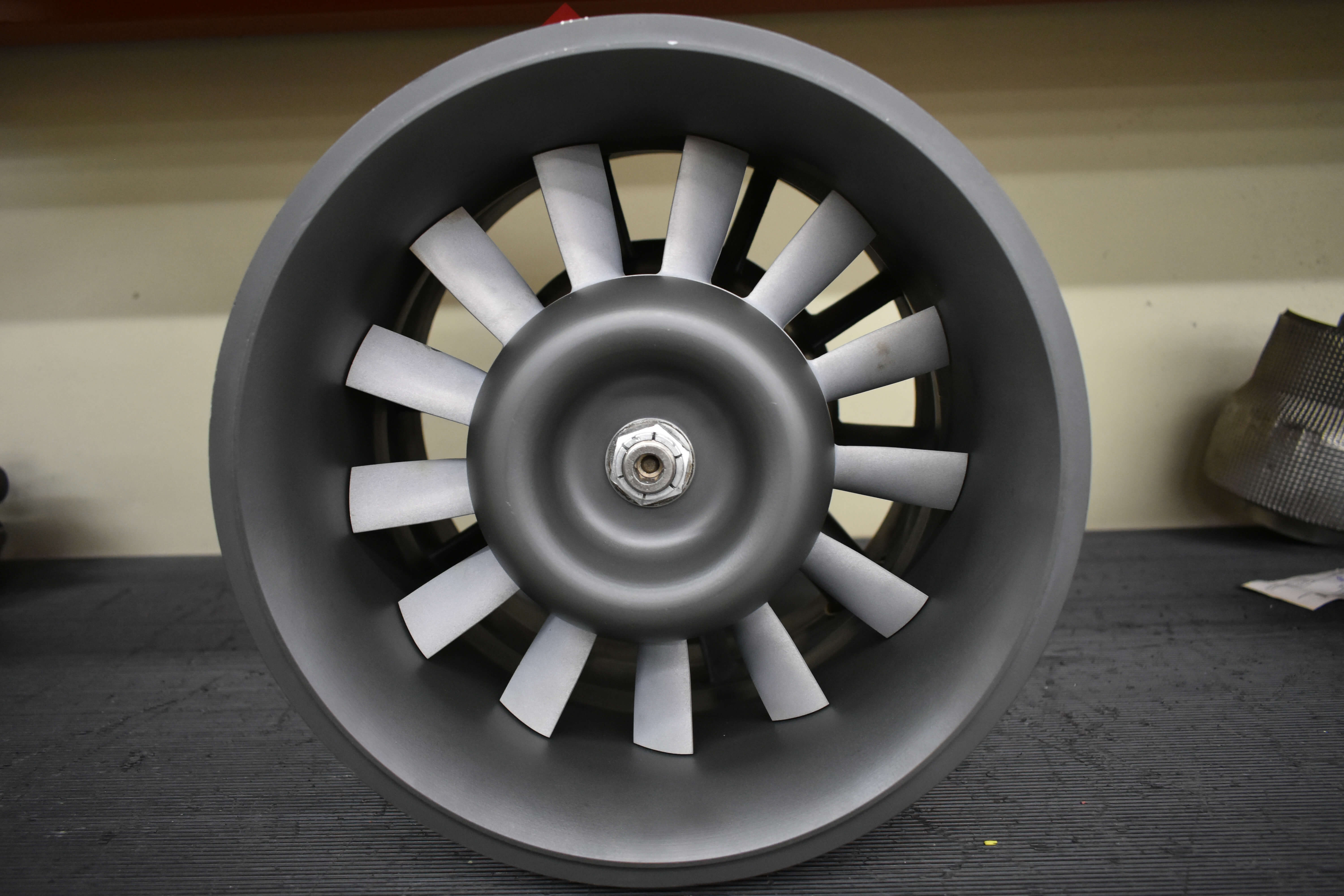 Outgoing B737 turbine driven vane axial fan after functional test and inspection