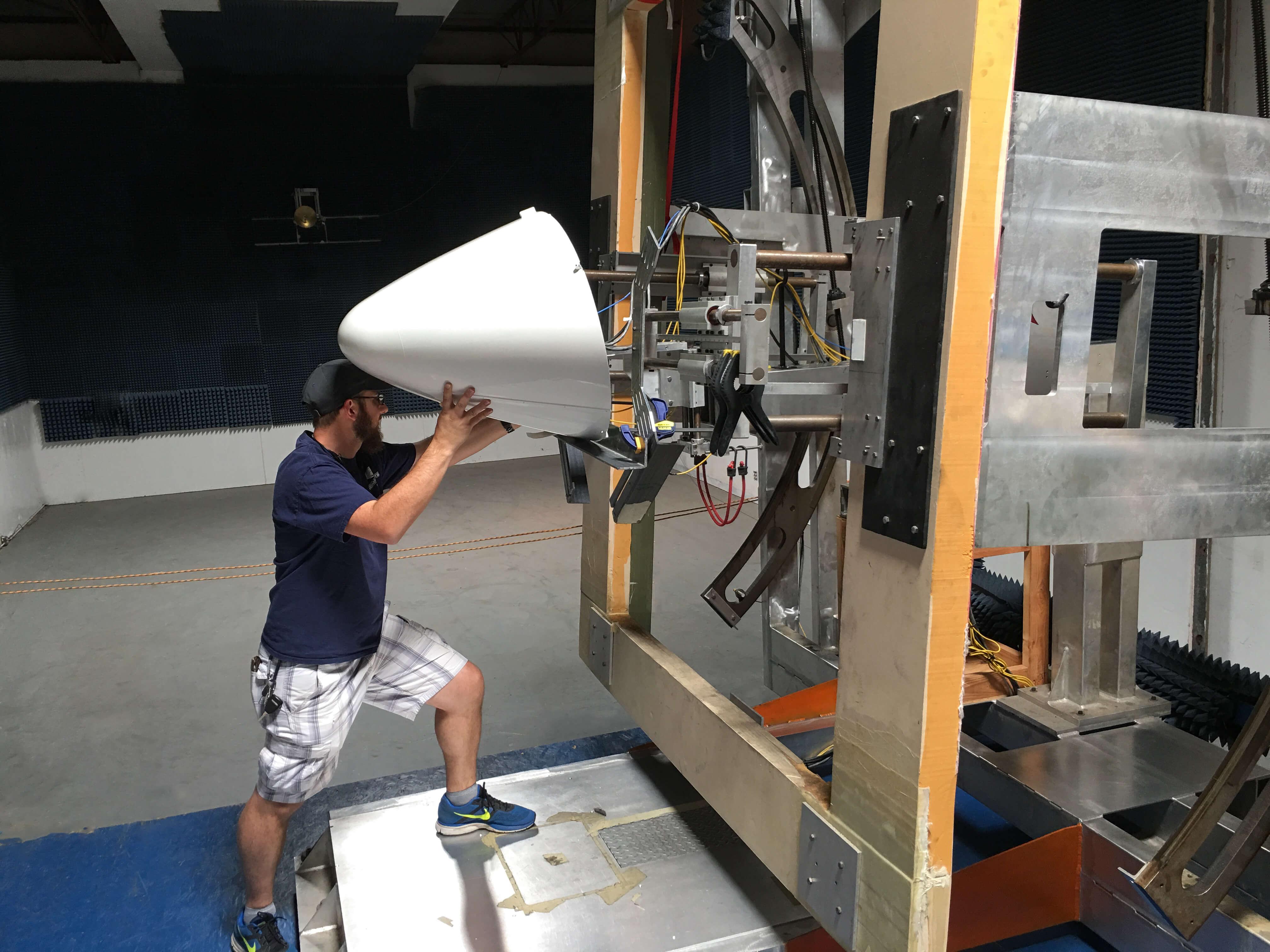 Installing a EMB145 Radome on the radar range for testing