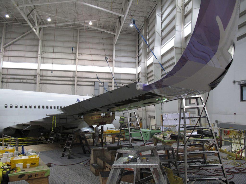 Winglet installation in progress.
