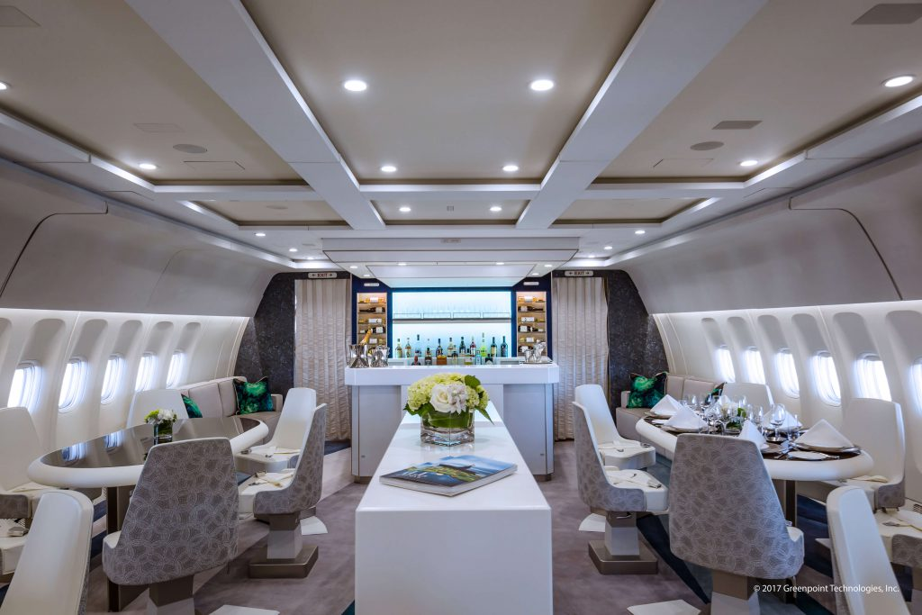 Main VIP lounge of recent aircraft completion (photo courtesy of Greenpoint Technologies)