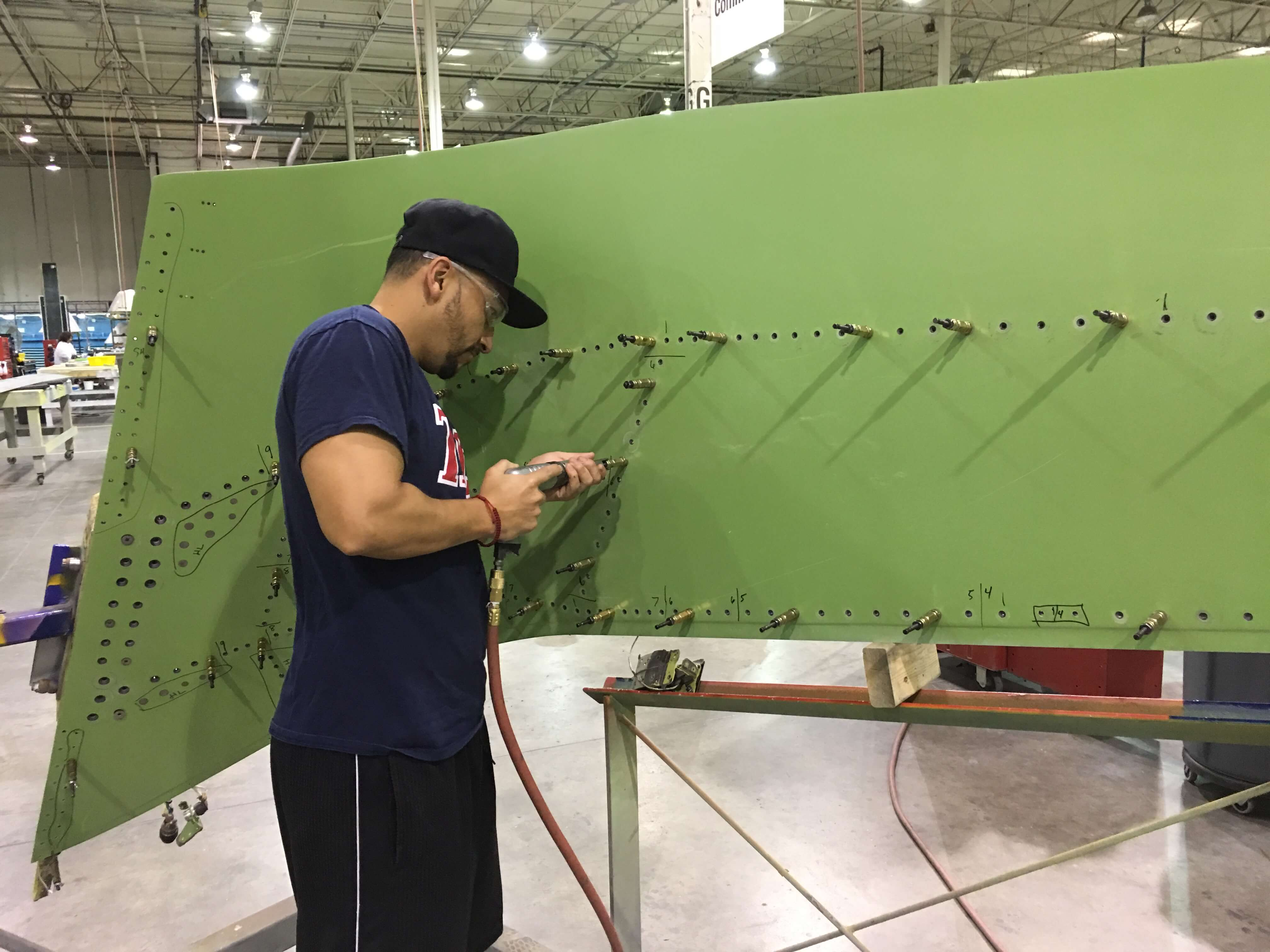 B737NG winglet upper skin being prepped for installation